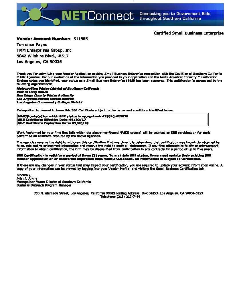 Metropolitan Water District Sbe Certification Mwd Tmm